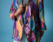 Vintage 90s Jacket // Plus Size Fresh Prince Abstract Print Blazer Coat with Original Belt  // Plus Size Blazer (sz L xL)
