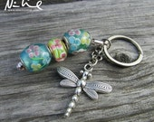 NEW YEAR CLEARANCE New Aqua Blue Yellow Glass Beaded Floral Dangling Dragonfly Keychain