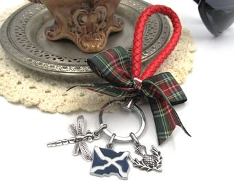 NEW Dark Green Tartan Red Lanyard - Keychain - Dangling Scottish Flag, Dragonfly & Thistle Charms