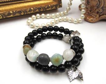 NEW Peruvian Opal Black Onyx Stone Beaded - Adjustable Memory Wire Bracelet (SSBR227)