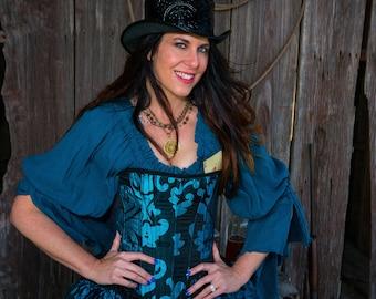 Top Hat, Black Leather Embossed, Steampunk, Western, Wild West,  Dickin's, Men's, Women's, Renaissance, Victorian, West World, Dustpunk