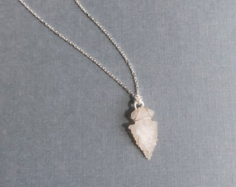 Silver Arrowhead Necklace, Authentic Arrowhead Necklace, White Arrowhead, Silver Chain, Sterling Necklace, Desert Inspired, Found Object