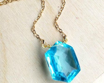 Aqua Quartz Necklace, Aqua Blue Gemstone, Aqua Quartz Gold, Aqua Pendant, Aquamarine Quartz, March Birthstone, Gift for Her, Bridal Necklace