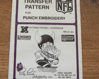 Vintage 80s pretty punch embroidery transfer pattern NFLH-24  Vikings  NFL  pkg open but unused