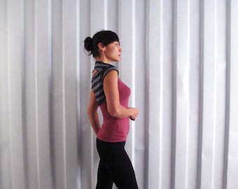Cropped tee bolero shrug - Yoga top - dance wear - workout - athleisure. Stripe - stone - charcoal.  Size SM and ML