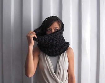 Chunky knit collar - Knitted scarf - Knit wrap - Snood - Yoga wear - Dance wear. Charcoal - Silver grey