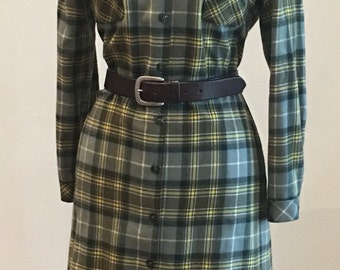 1970s Vintage Plaid Shirtdress - Fall Winter Button Down Dress - Thanksgiving Fall Party - Casual Dress - Gray Green Plaid - Wool - 42 Bust