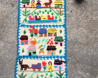 Vintage Wall Hanging - Embroidered Woven Art - Three Pockets - South American Mexican Vibe - Turquoise Green - Fun Quirky Boho Art Piece