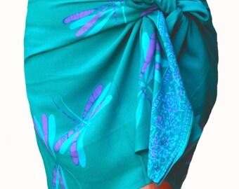 Dragonfly Sarong Wrap Skirt Batik Pareo Women's Clothing Short Beach Sarong Aqua Green & Purple Beach Cover Up Sarong Surfer Bikini Skirt