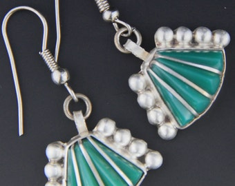 Vintage 1940s Mexican Green Chalcedony Sterling Silver Earrings, Mexican Earrings, Mexican Silver,