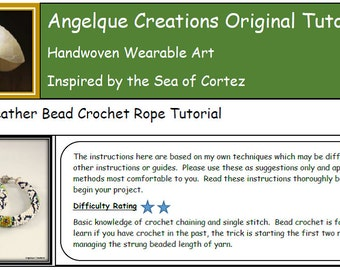 Peacock Feathers Bead Crochet Rope, Bracelet, PDF pattern tutorial, greens, blues, orangem white, bead weaving