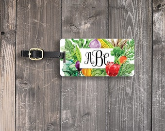 Luggage Tag Monogram Watercolor Vegetables Custom Front Personalized Address or Info on backs Single Tag