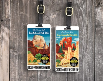 Luggage Tag Set Vintage Travel Posters Zion Bryce National Parks Metal Luggage Tag Set With  Custom Info On Back, 2 Tags Choice of Straps
