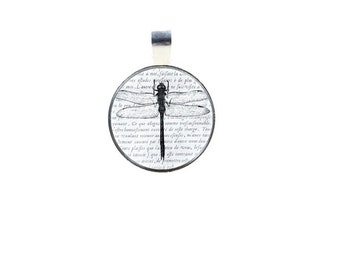 Dragonfly Pendant , Glass Dome Pendant  , Dragonfly  Glass Dome Pendant