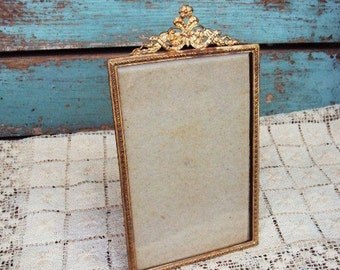 Antique Metal Picture Frame Tin Filigree Ornate Baroque Metal Easel Beveled Glass French Victorian Style Shabby Chic Distressed