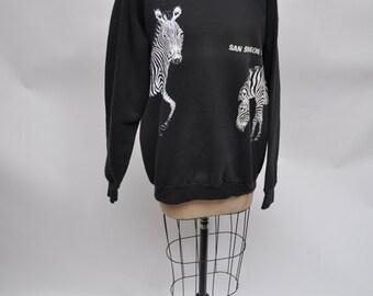 vintage sweatshirt ZEBRAS retro 1980s oversized boyfriend fit 80s san simeon xl extra large soft