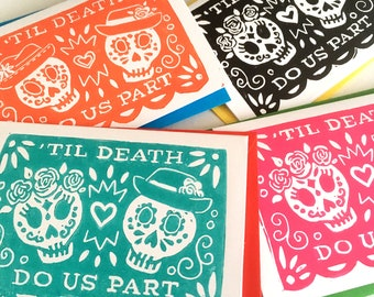 Til Death Do Us Part Day of the Dead Linocut Wedding Card - Anniversary Card, Engagement Card, Alternative Wedding Card, Día de los Muertos