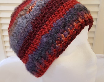 Crochet Striped Beanie/Hat/Cap /Reds and Grays With Copper Shimmer Stripes/ Adult/ Womens Crochet Skull Cap/ Handmade Winter Accessories