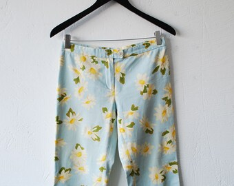 90s MOSCHINO CHEAPandCHIC cropped jeans. floral jeans. daisy print novelty jeans. skinny jeans - xxs xs, eur 36