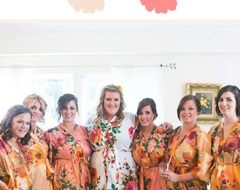 Peach and Coral Wedding Color Bridesmaids Robes