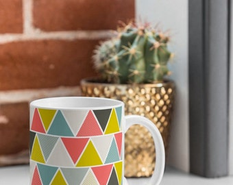 Modern Geometric Coffee Mug // Tea Cup // Ceramic Coffee Cup // Kitchen Drinkware // Home Decor // Triangulum Design // Colorful // Mug