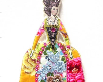 Fabulous Ornate Marie Antionette Flat Doll Ornament Handmade Fabric Doll Decoration Embellished Textile Art Doll Fabric Ornament