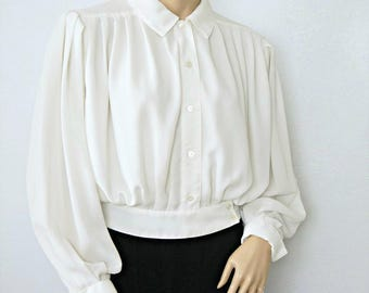 Blouse 1980's Liz Claiborne Slouchy Silky Blouse Casual Sexy Office Wear Waisted Crop Blouse Size 4