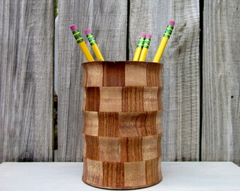 Wooden Holder, Pen Holder, Pencil Holder, Stained Wood, Paint Brush Holder, Checked Pattern, Pine Wood, Office Organizer, Desk Accessory