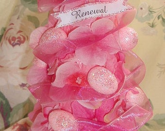 Cotton Candy Pink Easter Tree with Eggs Baby Shower Flowers Glitter Butterfly Renewal Spring