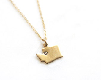 Gold Brass Small Washington State Necklace | Custom Heart Dainty City Necklace | Seattle Washington PNW Tree Mountain Woodland Necklace