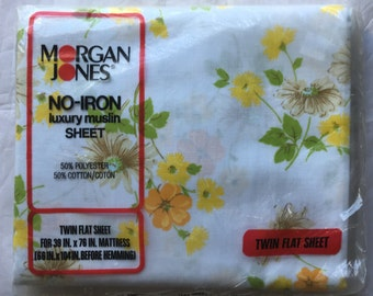 """Morgan Jones Vintage TWIN FLAT Floral Sheet Yellow """"Flower Song"""" Pattern - New Old Stock - Rescued Bed Linens"""