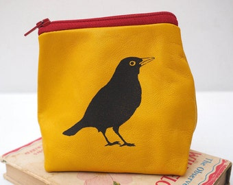 Yellow Leather Pouch with Blackbird, Leather Pouch, Leather Purse, Gift for Men, Bird print, Gift for Her, Gift for Girlfriend