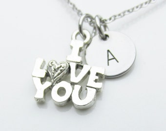 I Love You Charm Necklace, Initial Necklace, Personalized, Stamped Initial Letter, Monogram Necklace, Word Charm, Antique Silver Finish Y435