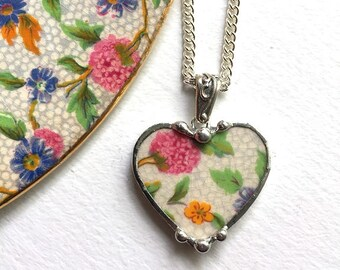 Vintage chintz china, heart pendant necklace, antique Old Cottage Hydrangea chintz, pink floral broken china jewelry - eco-friendly