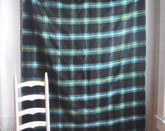 Plaid Wool Tartan Campbell Clan Blanket Throw in Winter Holiday Colors Teal Green Blue and Yellow