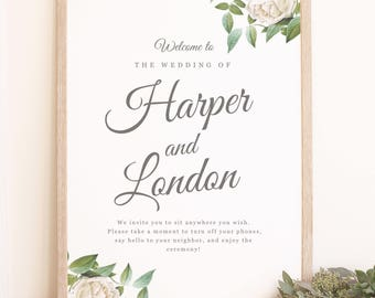 Instant DOWNLOAD Wedding Welcome Sign Template - Ivory Botanical - Word or Pages MAC and PC - 18x24 or 24x36 - Editable Colors