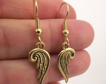 Tiny Gold Guardian Angel Wing Earrings, Golden Wings, Small Wing Jewelry, Gift under 20