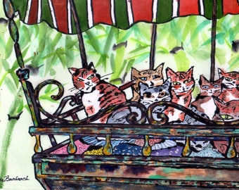Cat Art Print Community Cats