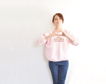 pink bunny love sweatshirt . cross stitch rabbit couple .medium.large .sale