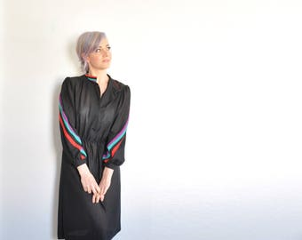 new wave striped dress . diagonal rainbow arms . sheer black frock .small.medium