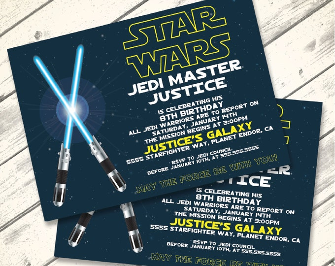 Star Wars Invitation - Star Wars Birthday Party,  Star Wars Party, Blue Lightsaber | Editable Text - DIY Instant Download PDF Printable