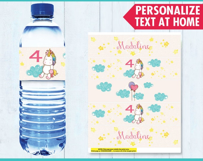 Unicorn Party Water Bottle Label / Wrap - Unicorn Birthday, Rainbow Birthday, Magical Party - Editable Text - Instant Download PDF Printable