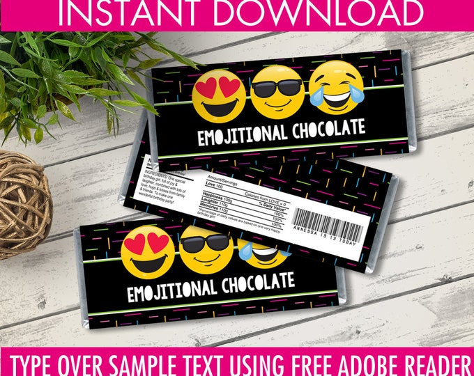 Emoji Candy Bar Wrappers - Emoji Favor, Chocolate Labels, Emoji Birthday Party | Editable Text - Instant Download PDF Printable