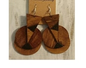 Combined Triangles and Circles Wood Stained and Burned Layered mPERFEKtion Wooden Earrings - #mPER42