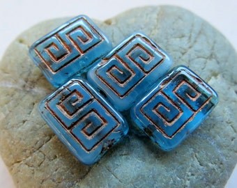 NEW WATERY REX . Czech Picasso Glass Beads . 13 by 9 mm (4+ beads)