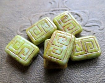 NEW EARTHY REX . Czech Picasso Glass Beads . 13 by 9 mm (4+ beads)