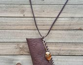 Brown leather pouch amulet bag Native American medicine bag - leather necklace - leather accessories - be unusual