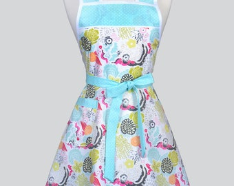 50s Style Retro Apron - Colorful Aqua Pink Modern Floral Womans Cute Vintage Kitchen Apron to Personalize or Monogram Embroidery