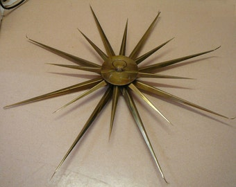 "Vintage Starburst Sunburst Wall Sculpture Huge 38"" Brass Mid-Century Brutalist Wall Hanging"