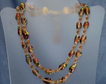 Hobe Art Glass Necklace Two Multi Strand Murano Glass Beads